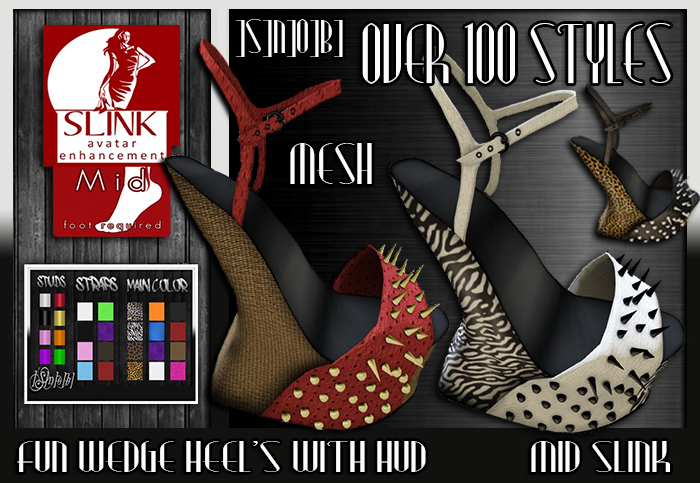 ]S]N]0]B] Fun Wedge Heel's Strapped & Strapless Slink (Mid)