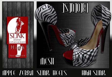 ]S]N]0]B] Apple Zebra Slink Heels