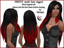 PRETTY mesh hair rigged black tipped red long hair