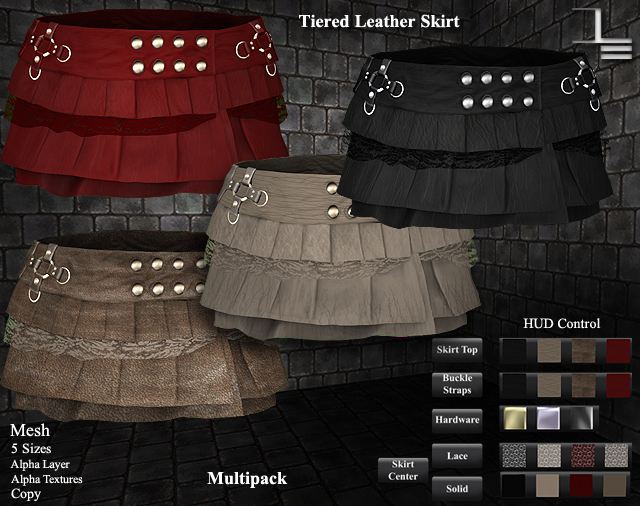 DE Designs - Tiered Leather Skirt - Multipack