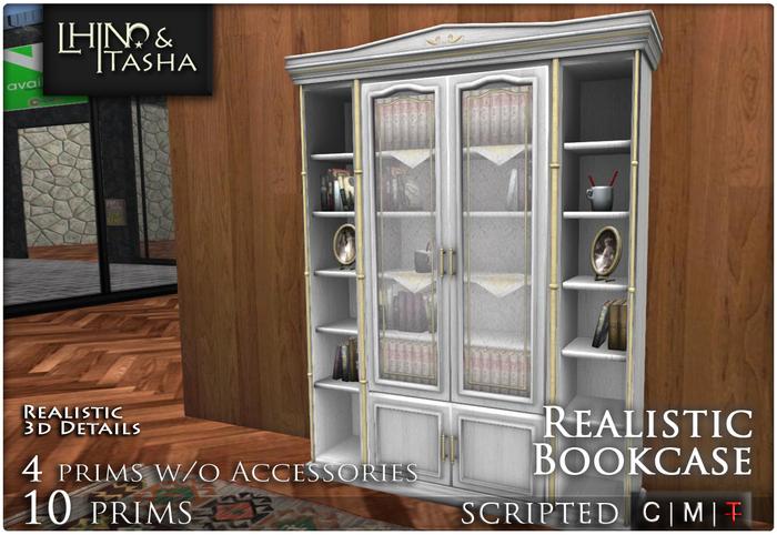 [L&T] - Realistic Bookcase w/ books & accessories (Open/close doors, 3d realistic details)