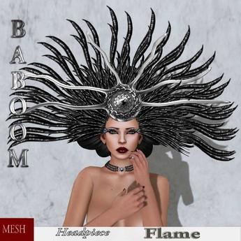 Baboom-Flame-gown-headpiece-black