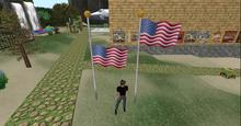 American Flag on flagpole, one full staff & one ay half staff for Memorial Day, antimated blows wind