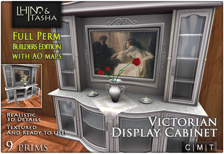 [L&T] - Victorian Display Cabinet (Full Perm, Scripted) Realistic 3D w/ AO Maps And Textures   Builders Edition