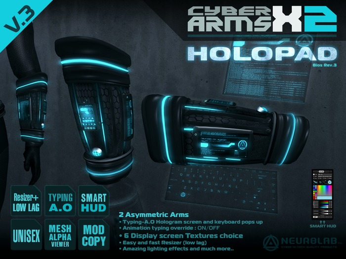 CYBER ARMS X-2 HOLOPAD TYPING-AO [NeurolaB Inc.]
