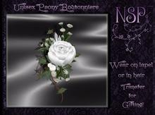 NSP Unisex Peony Boutonniere (Wedding White) BOXED