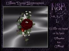 NSP Unisex Peony Boutonniere (Twilight) BOXED
