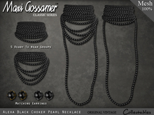 Necklace - Alexa Black Choker Pearls