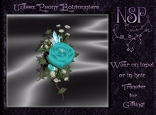 NSP Unisex Peony Boutonniere (Teal) BOXED