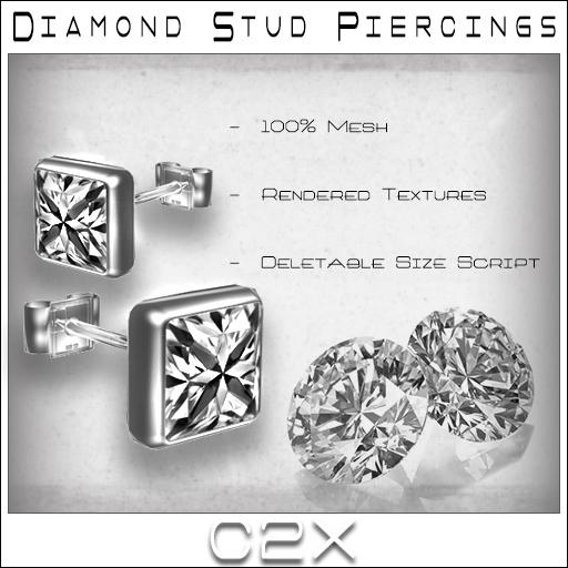 ~C2X~ Diamond Stud Earrings [UNISEX]
