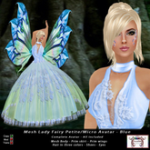 Mesh Lady Fairy Petite - Micro Avatar - Blue (All Included)