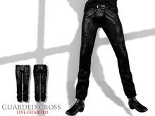 * Guarded Cross * Leather Biker Pants Black