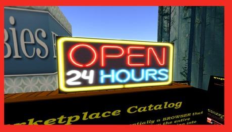 Wingsong Open 24 Hours Sign - Neon Flashing