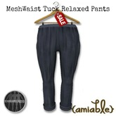 {amiable}Mesh Waist Tuck Relaxed pants BL
