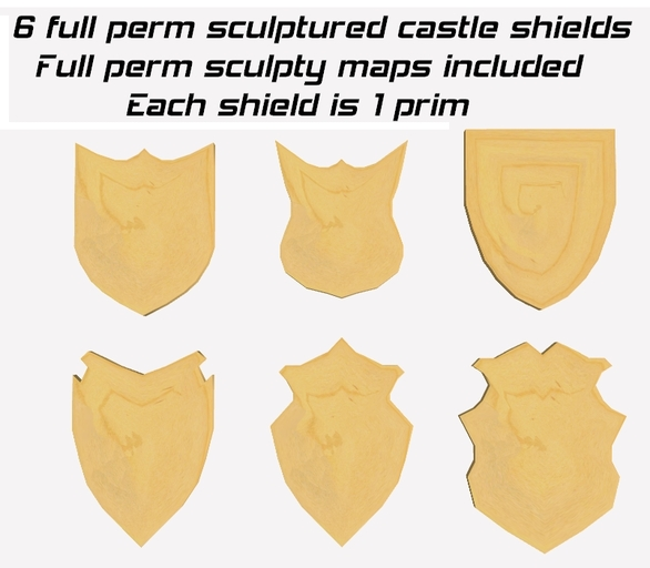 6 full perm castle shields + full perm sculpty maps