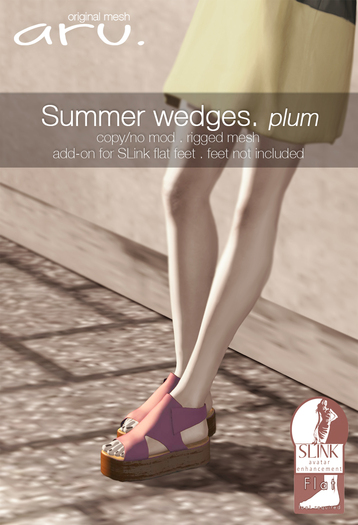 aru. Summer wedges (plum) (add)