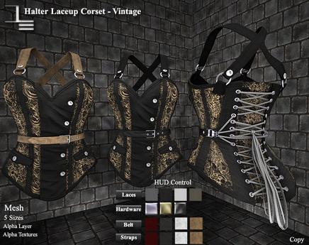 DE Designs - Halter Laceup Corset - Vintage - Black