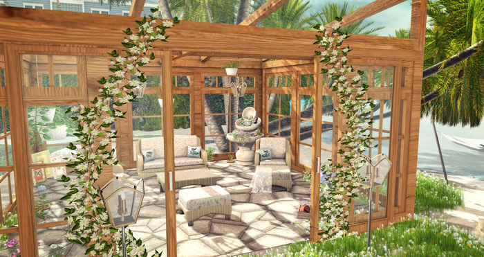 Aphrodite Summer Flowers Greenhouse -Glass house set in Oak wood color