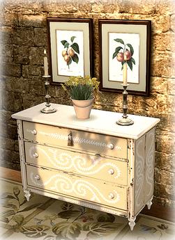 Ivory Painted Shabby Dresser COPY MOD