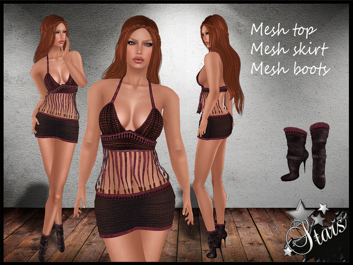 *Stars*Fashion* Classic body - Penelope, beautiful outfit w top, skirt & boots!