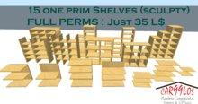 15 Single Prim Shelves  JUST THIS WEEK 25 L$