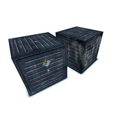"""2 Space Cargo Storage Shipping Containers """"Chrome"""" – Single Prim With Detailed Textures and Shadow"""