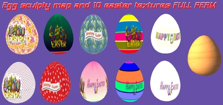 10 Full perm sculptured easter eggs + full perm textures + sculptmap