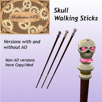 Thadovian LTD Skull Walking Stick - Full Set