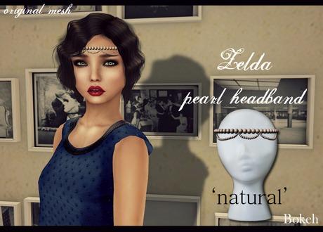 Zelda Pearl Headband 'natural' (mesh) - Bokeh