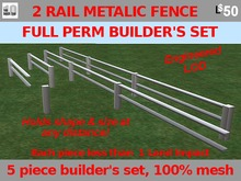 FULL PERM Metallic Fence or Railing BUILDERS SET with 2 Triangular Rails Eng LOD Mesh