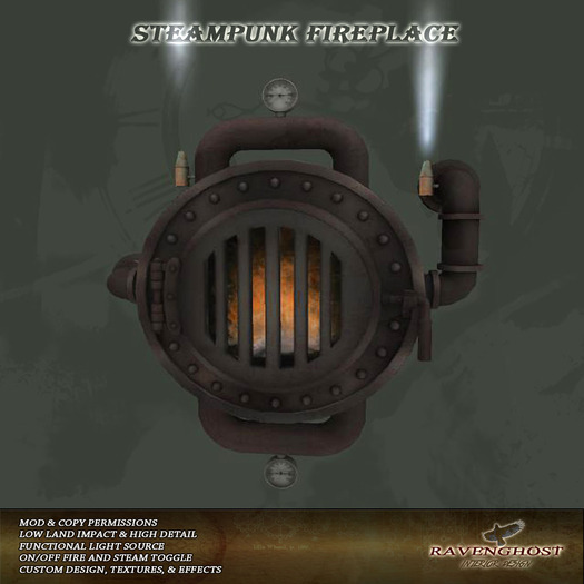 Cast Iron Steampunk Fireplace (Copy, Mod)