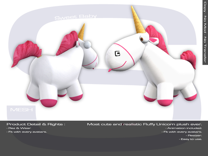 Sweet Baby - Fluffy Unicorn Plush Mesh