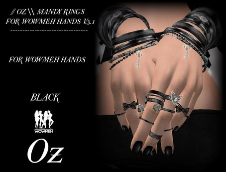 // OZ \\ MANDY RINGS BLACK FOR WOWMEH HANDS V.3.1