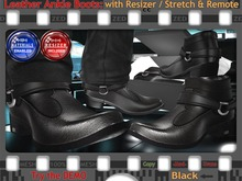 FULL - ZED MESH MATERIALS ENABLED: Black Leather Ankle Boots (Non-Rigged & Resizable/Stretchable + Remote)