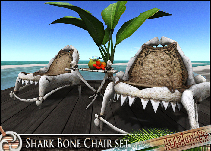HeadHunter's Island -  PROMO  - Special Edition Shark Bone Beach chair set-12 animations - w/ drink giver MESH