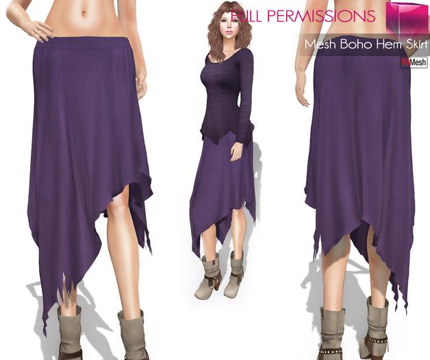 %50SUMMERSALE Full Perm Fitmesh and Rigged Mesh Boho Hem Skirt