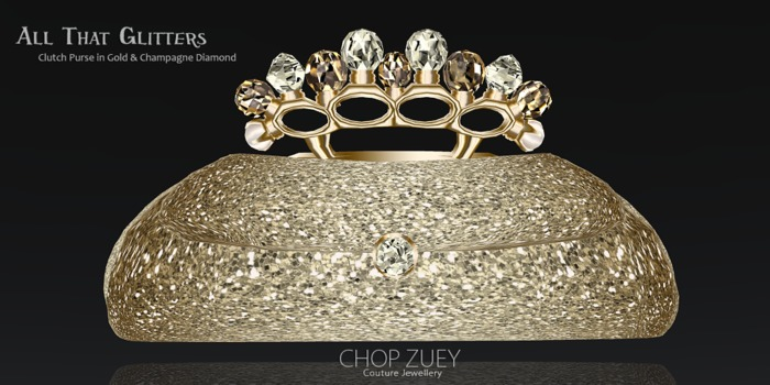All That Glitters Jeweled Clutch Purse by Chop Zuey Couture Jewellery