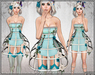 [Wishbox] Cage Dress (Blue) - Mesh Exposed Cage Bodycon Dress and Fantasy Lingerie with Roses