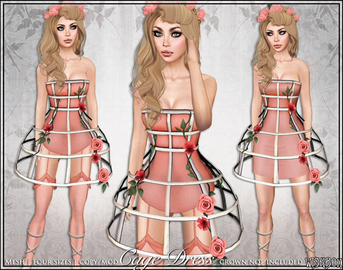 [Wishbox] Cage Dress (Coral) - Mesh Exposed Cage Bodycon Dress and Fantasy Lingerie with Roses