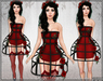 [Wishbox] Cage Dress (Red / Black) - Exposed Cage Bodycon Dress and Fantasy Lingerie with Roses