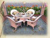 Bistro Patio Set for 4: White Wicker and Glass TRANS