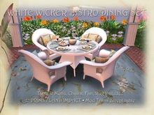 Bistro Patio Set for 4: White Wicker and Glass MESH