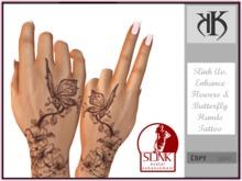 ::KK:: Slink Av.Enhance - Flowers N Butterfly Hands Tattoo