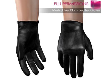 Full Perm Mesh Unisex Black Leather Gloves