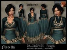 "**Creative Chaos** Dollarbie - Fantasy dress ""Myrella"" - teal - incl. modesty undershirt"