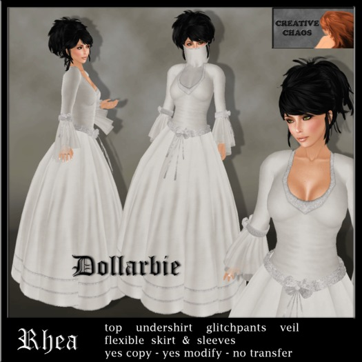 """Dollarbie """"Rhea"""" /ivory fantasy gown incl. veil and optional undershirt"""