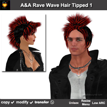 Fabulous Second Life Marketplace Aa Rave Wave Hair Black Red Tipped Schematic Wiring Diagrams Amerangerunnerswayorg