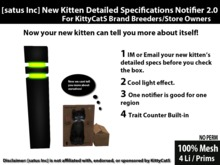 [satus Inc] New Kitten Detailed Specifications Notifier 2.0 (with trait counter) for KittyCatS Breeders