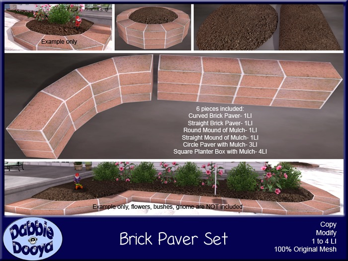 Dabble Dooya Red Brick Garden Paver Set