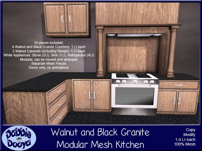 Dabble Dooya Walnut and Black Granite Modular Mesh Kitchen